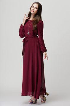 Elegant Chiffon Full Sleeve Loose Waist Maxi Long Dress