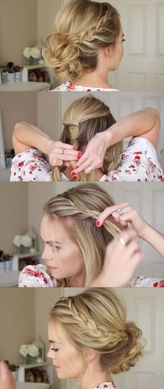 24 Beautiful Bridesmaid Hairstyles For Any Wedding - Lace Braid Homecoming Updo Missy Sue - Beautiful Step by Step Tutorials and Ideas for Weddings. Awesome, Pretty How To Guide and Bridesmaids Hair Styles. These are Easy and Simple Looks for Short hair,