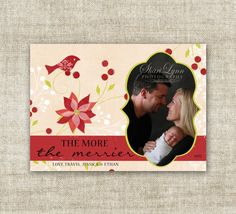 "christmas card holiday greetings family picture card ""the more, the merrier""  #babysfirstchristmas  @Cardtopia Designs"