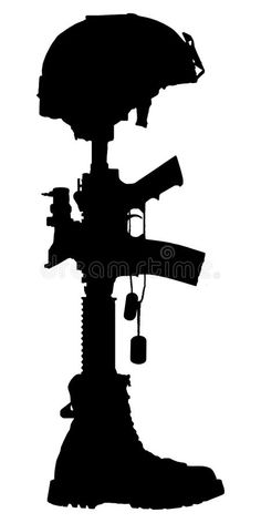 Illustration about Silhouette of the cross of the fallen soldier isolated on white background. Illustration of grave, helmet, officer - 73129198 Soldier Silhouette, Silhouette Art, Silhouette Cameo Projects, Military Drawings, Military Tattoos, Indian Army Wallpapers, Remembrance Day, Scroll Saw Patterns, Stencil Art