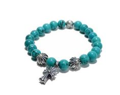Turquoise Beads Chrome Hearts Bracelets with 925 Silver Cross Pendant