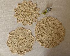 Set of 3 Vintage Crochet Doily Cream Doilies by VintageByLeni