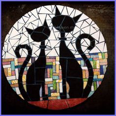 Cute black cat mosaic art with two whimsical cats.different shapes and sizes for different colors mosaic catsCats in LoveSaved by Elizabeth Mosaic Diy, Mosaic Garden, Mosaic Crafts, Mosaic Projects, Mosaic Wall, Mosaic Glass, Mosaic Tiles, Glass Art, Mosaics