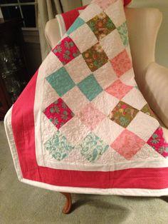 Modern Girl Crib Quilt by itsybitsystitchybee on Etsy, $65.00
