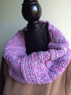 This hand knitted Purple Gray color cowl is perfect addition to any wardrobe for the cooler months. This Purple Gray cowl is made shorter to