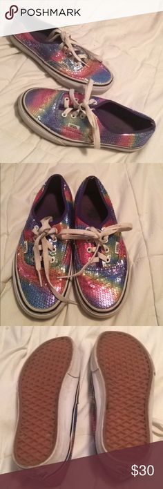 Rainbow sequined vans Women's size 7, men's size 5.5. Awesome rainbow colored sequined vans! Gently worn! Vans Shoes Sneakers