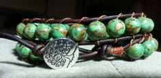 Handmade Adjustable Antiqued Brown Double Leather Wrap Bracelet with Mosaic Turquoise Stones and Tree of Life Button - sold