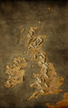Map of UK and Republic of Ireland in a Fantasy Style [OC] x Fantasy Map Making, Fantasy World Map, Fantasy Rpg, Building Map, European Map, Medieval, Tiny World, Republic Of Ireland, Historical Maps