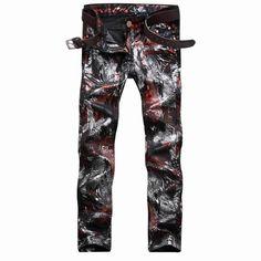 29.44$  Buy here - https://alitems.com/g/1e8d114494b01f4c715516525dc3e8/?i=5&ulp=https%3A%2F%2Fwww.aliexpress.com%2Fitem%2F2017-Men-s-colored-drawing-sky-print-slim-fit-jeans-clubwear-personality-fashion-straight-printed-pattern%2F32770636149.html - 2017 Men's colored drawing sky print slim fit jeans clubwear personality fashion straight printed pattern denim pants trousers 29.44$