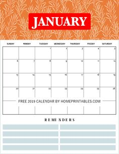 171 Best Free Printable 2019 Monthly Calendars! images
