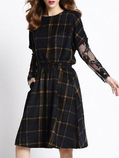 Appealing Round Neck Lace Plaid Skater-dress