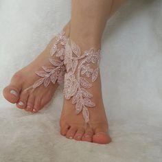 blush pink ivory beaded beach wedding barefoot by BarefootShop