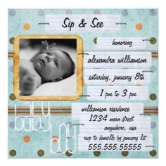 Sip and see baby shower invitations. LOVE THIS!  --  Do as:  Meet, Greet & Eat....