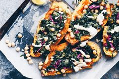 So excited to share another beautiful recipe from the incredible foodie Taline Gabriel. This is her divine Baked Sweet Potato filled with antioxidant-rich spinach, good-for-you-fat tahini and chick… Dinner Recipes For Kids, Healthy Dinner Recipes, Lunch Recipes, Dinner Ideas, Raw Food Recipes, Cooking Recipes, Vegan Protein Sources, Healthy Family Meals, Easy Diets