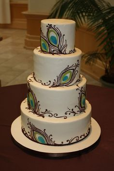 Peacock Wedding  by hainesbarksdale, via Flickr   I would love a small version of this cake for my birthday.