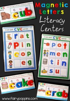 Literacy center activities using magnetic letters for CVC, CCVC (blends, digraphs) and CVCe (magic e) words ~ Fairy Poppins
