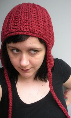 Unisex crochet chunky ribbed earflap beanie hat ready by luvbuzz,