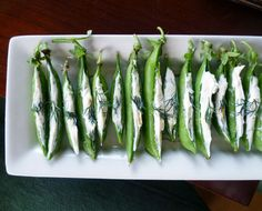Pea Pods stuffed with Herbed Cream Cheese