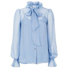 Temperley London Costume Silk Shirt (2.735 RON) ❤ liked on Polyvore featuring tops, blouses, blue, purple, silk shirt, mock neck shirt, purple ruffle blouse, ruffle shirt and purple blouse