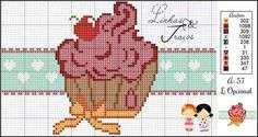 (notitle) - Bordados Pto X Cross Stitch Charts, Cross Stitch Designs, Cross Stitch Embroidery, Valentine Gift Baskets, Valentine Gifts, Cupcake Crafts, Halloween Cross Stitches, Loom Patterns, Loom Beading