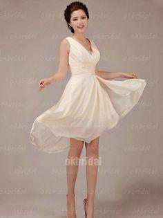 short champagne wedding dress knee length dress by okbridal on Etsy