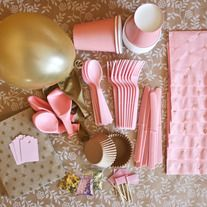 Gold and Pink Party Pink Gold Party, Pink And Gold, Blush Pink, Party Props, Party Ideas, Party Party, New Neighbor Gifts, Birthday Box, Birthday Ideas