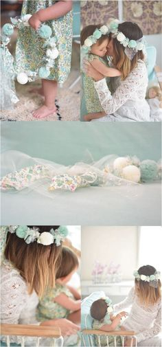 Mint & Ivory Crown - composed of tulle pompoms & Liberty print