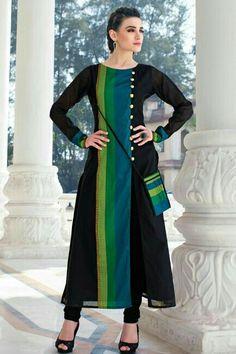 designer kurtis for girls by manish malhotra Churidar Designs, Kurta Designs Women, Blouse Designs, Indian Dresses, Indian Outfits, Stylish Dresses, Fashion Dresses, Kurtha Designs, Simple Kurti Designs