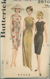 An original ca. 196's Butterick Pattern 2970.  Low-waisted dress with shirred midfriff, extended shoulders, eased skirt.  (A)  Ankle length.  (B)  Street length.