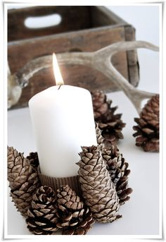 Ideas Wedding Centerpieces Rustic Pine Cones Candle Holders For 2019 Frugal Christmas, Rustic Christmas, Simple Christmas, All Things Christmas, Christmas Crafts, Pagan Christmas, Woodland Christmas, Christmas Fashion, Christmas 2014