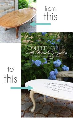 $15 Yard Sale Coffee Table transformed with French Graphics