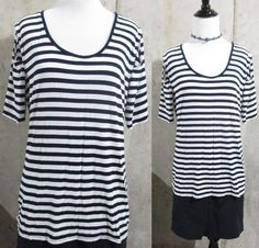 Vince Camuto Navy and White Striped Ladies Shirt with Peep hole Short Sleeves, L #VinceCamuto #KnitTop #Casual