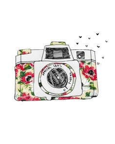 I'm going to make one of these in my sketch book with printed paper and pencil. Gravure Illustration, Cute Illustration, Camera Illustration, Photography Illustration, Oblyvian Girls, Overlays, Camera Art, Camera Drawing, Watercolor Paintings