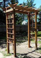 DIY garden arbor want to do this! by graciela DIY garden arbor want to do this! by graciela Cheap Pergola, Backyard Pergola, Pergola Shade, Pergola Plans, Backyard Landscaping, Pergola Kits, Pergola Ideas, Pergola Roof, Arbors Trellis