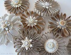 folded paper book ornaments www.juliereed.com