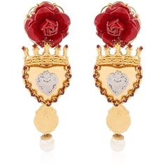 DOLCE & GABBANA Sacred Heart Earrings (22 590 ZAR) ❤ liked on Polyvore featuring jewelry, earrings, gioielli, gold, dolce&gabbana, flower jewelry, heart shaped earrings, heart earrings and dolce gabbana jewelry