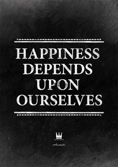 "Inspirational quote by Aristotle: Happiness depends upon ourselves"". Wedding quote print, dorm wall art, interior decor."