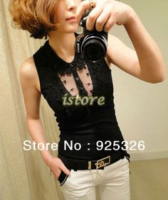 2014 new Women's Sexy Transparent Lace Lapel waistcoat Ladies Joker Threaded Slim Cotton T shirt Tank Tops Vest Camisole 17629-in Tank Tops ...