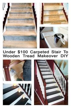 Under 100 dollar Staircase makeover: Carpet to wood treads tutorial! If only under the carpet, my stairs look this good. Home Renovation, Home Remodeling, Staircase Makeover, Staircase Remodel, Stair Redo, Staircase Diy, Basement Stairs, Tile Stairs, Concrete Stairs