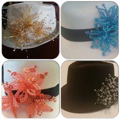 Panama Hats trabajados con tembleques hechos de cristales, canutillos y perlas.  Siguenos por instagram guairabyjt
