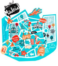Madrid Map, Spain, illustrated map, travel guide madrid, tour guide spain www. Travel Tours, Travel Maps, Travel Posters, Travel Guide, Bus Travel, Travel Destinations, Map Design, Travel Design, Design City