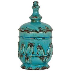 """Crestview Perched Bird 14"""" High Turquoise Urn Vase - #1T526   Lamps Plus"""