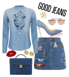 """Denim Party"" by kimdillinger on Polyvore featuring Christian Louboutin, Marc Jacobs, NSF, Chanel, Versace, Smith/Grey, Westward Leaning, Lime Crime and Denimondenim"
