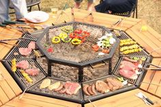 JAG Grill table - Everyone's the Grillmaster At this BBQ Picnic Table - I would love one of these in my backyard Fire Pit Grill, Fire Pit Backyard, Backyard Bbq, Fire Pits, Backyard Ideas, Backyard Parties, Design Barbecue, Barbecue Grill, Fire Pit Furniture