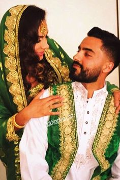 #afghan #wedding #nekah #green #dress #couple