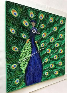 Peacock paper quilling by Jasmeet Kohli Peacock Quilling, Paper Quilling Cards, Paper Quilling Flowers, Paper Quilling Tutorial, Quilling Work, Paper Quilling Patterns, Origami And Quilling, Quilled Paper Art, Quilling Paper Craft