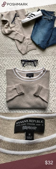 Banana Republic fine Italian nude sweater Tan crew-neck sweater by Banana Republic made with fine Italian yarn by Filpucci. White line on shoulder seams and around neckline. Perfect condition. (GAP capris also for sale in another listing) Banana Republic Sweaters Crew & Scoop Necks