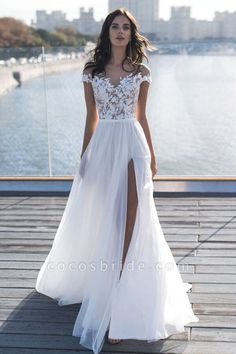 Discount 2019 New Capped Sleeves Lace Top Wedding Dresses Sheer Neck A Line Chiffon Summer Beach Side Split Wedding Gowns Wedding Gowns Wedding Dresses A Line Wedding Dress With Straps From Enjoyweddinglife 178 63 White Beach Wedding Dresses, Wedding Dresses Under 500, Wedding Dress Chiffon, Wedding Dress Sleeves, Wedding Dresses Plus Size, Prom Dresses, Sexy Dresses, Summer Dresses, Formal Dresses