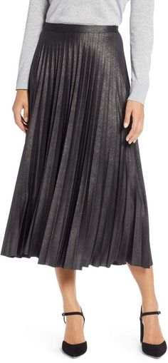 f1cc6dec9 Halogen Metallic Pleat Midi Skirt Midi Skirt Outfit, Skirt Outfits, Pleated  Midi Skirt,