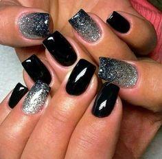 Pretty black and silver gel nails. #gelnails #kelownadayspa #mm